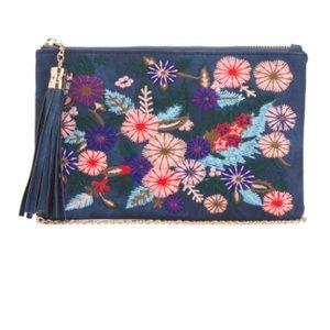 Embroidered floral chain shoulder bag